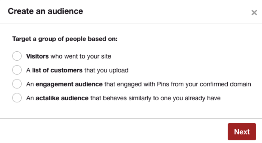 pinterest audience building screen