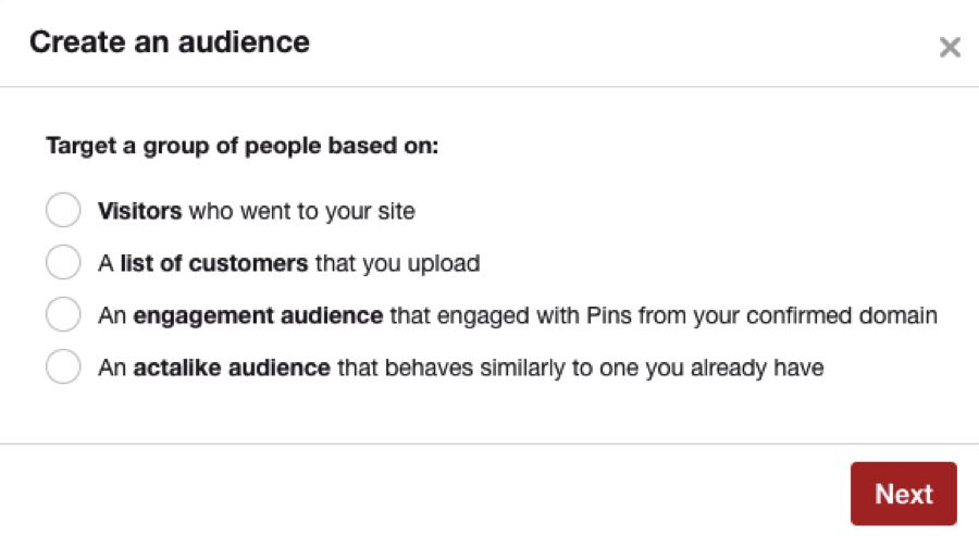 pinterest audience building screen