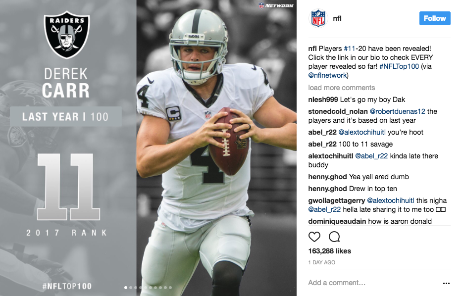 NFL instagram captions