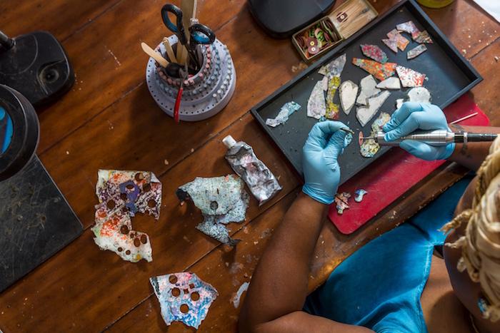 Creative designer making jewelry