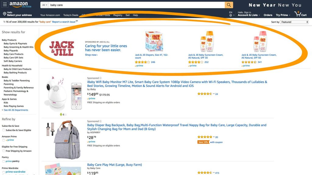 Amazon sponsored brand campaign ads