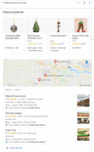 Search engine results page for holiday decorations query
